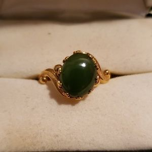 Gold Plated Jade Ring